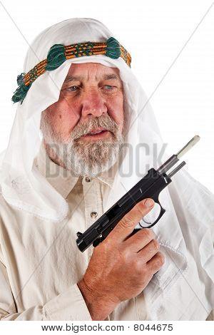 Arab Man Holding A Gun