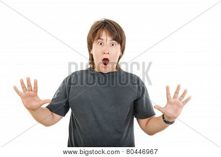Young Caucasian Chubby Kid Or Boy Gesturing Surprise  Holding His Hands Widespread