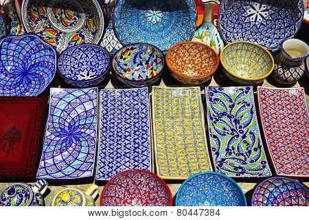 Traditional Clay Goods In Shop In The Medina Of Tunis