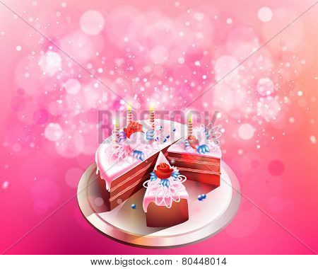 Vector illustration with big chocolate cake