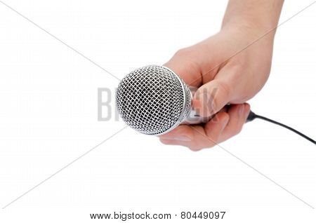Microphone In A Hand The Isolated