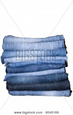 Stack Of Blue Denim Jeans
