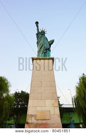 PARIS - SEP 08: Replica of New-York Statue of Liberty in Paris on September 08, 2014 in Paris, France. Paris, aka City of Love, is a popular travel destination and a major city in Europe