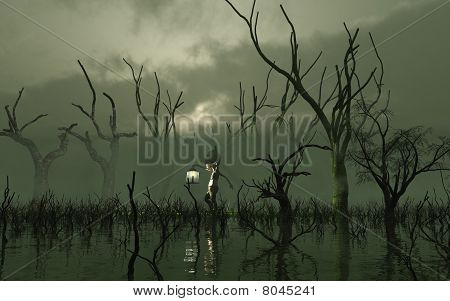 Will O' The Wisp in a misty swamp