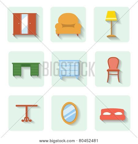 colored flat icons furniture.  set