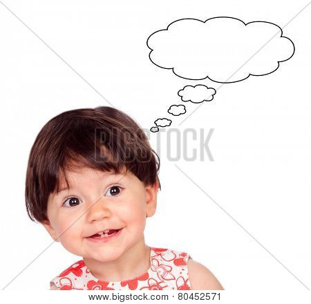 Surprised baby girl with only four teeth thinking something isolated on a white background
