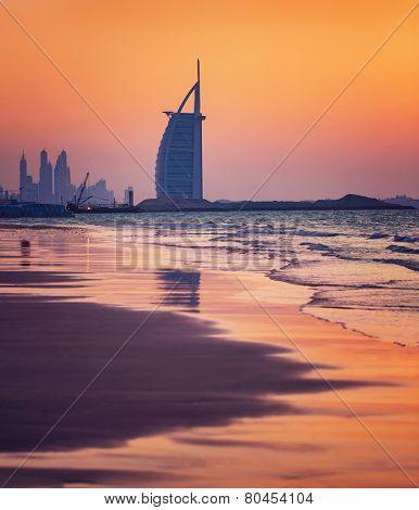 DUBAI, UAE - NOV 24: Burj Al Arab is 321m, second tallest hotel in the world, luxury hotel stands on an artificial island,November 24, 2014 Jumeirah beach, Dubai, United Arab Emirates