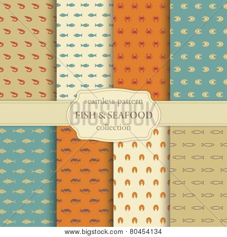 Fish and seafood seamless backgrounds