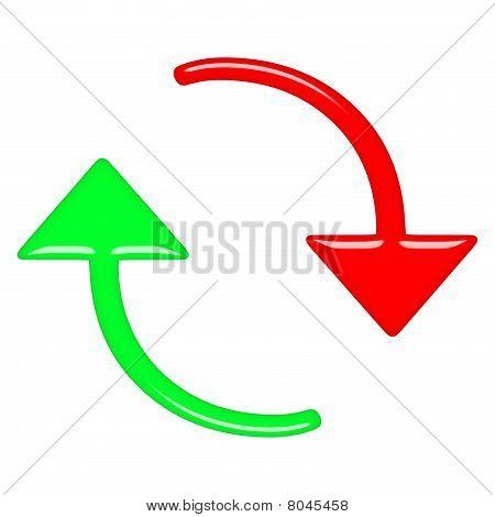 3D Circular Up And Down Arrows