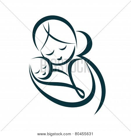 Young Mom Hugs Her Baby, Stylized Vector Symbol
