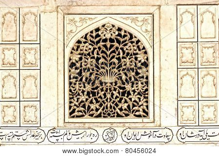 Ancient Carved Marble Surface. Taj Mahal
