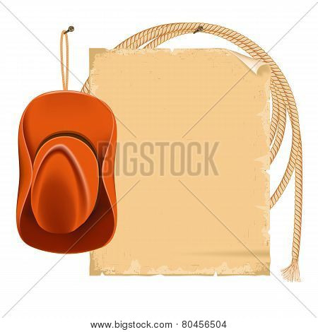 Cowboy Hat And American Lasso Isolated On White For Text