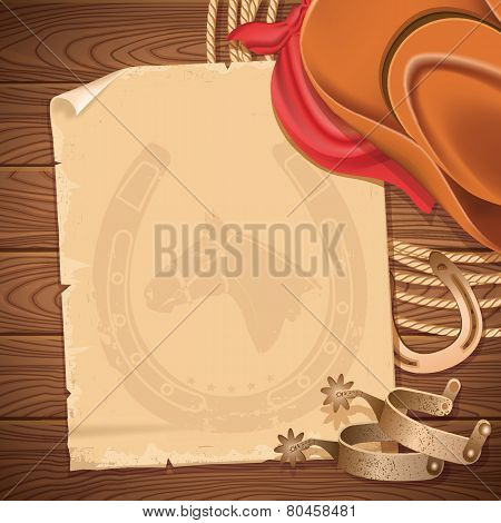 Wild West Background With Cowboy Hat And American Lasso On Wood Table