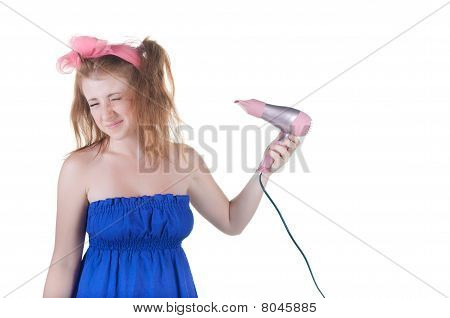 Red-haired Girl With The Hair Dryer