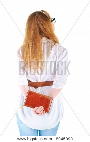 Young Woman Looking At Wall.