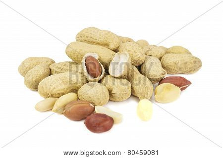 Pile Of Peanuts In Shell Isolated Over White