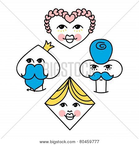 Playing Cards Symbols Characters Illustration