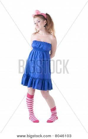 Lovely Red-haired Girl In  Dark Blue Sundress.