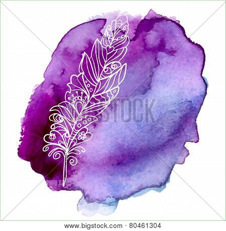 Feather painted live watercolor paint