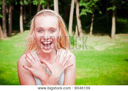 Emotional Beautiful Young Woman