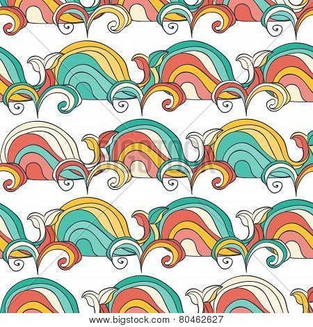 Colorful Doodle Whale Seamless Pattern