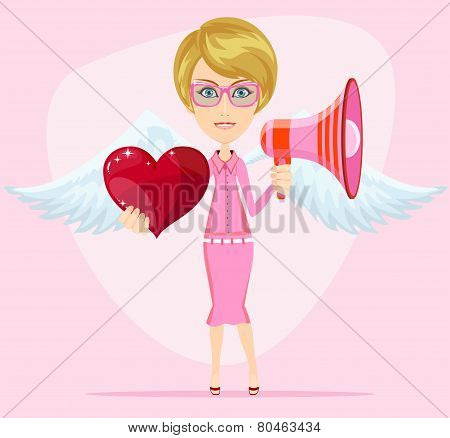 Female messenger angel with beautiful wings gives heart for you