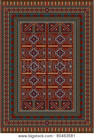Vintage carpet decorated with geometric designs
