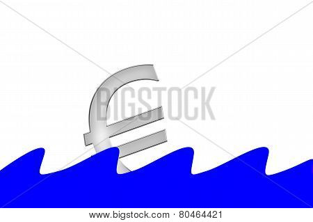 Euro Symbol is sinking into water with waves
