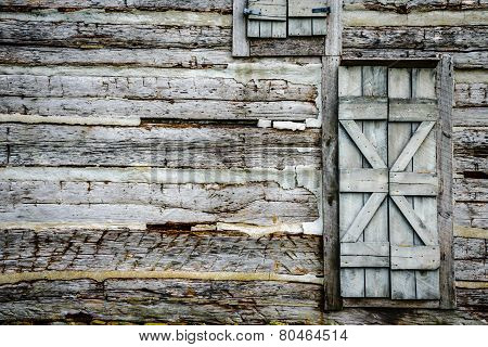 Log Cabin Wall With Rustic Door