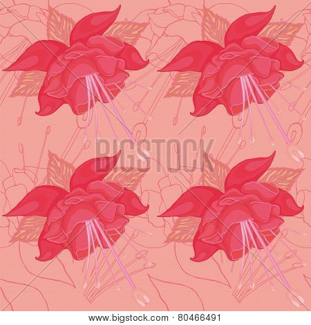 seamless peach background with pink flowers