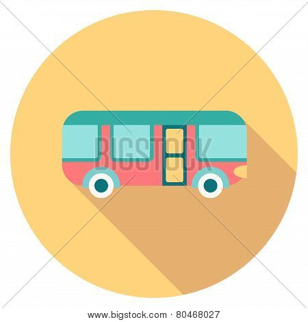 Round Travel Flat Colour Bus Icon With Shadow
