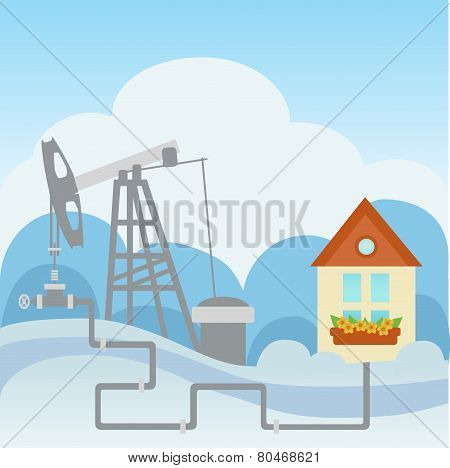 Oil And Gas Processing Plant And House