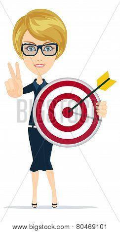 Successful business woman showing victory sign, holding a target with arrow