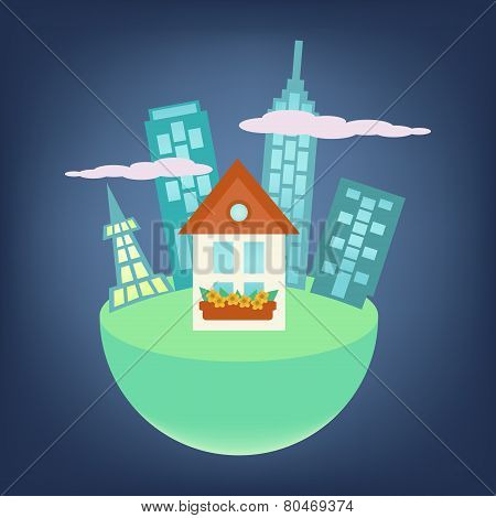 City Around Small House On A Globe