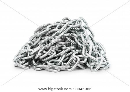 Silver Chain Isolated On The White Background