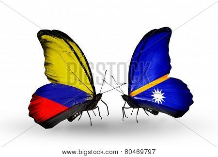 Two Butterflies With Flags On Wings As Symbol Of Relations Columbia And Nauru