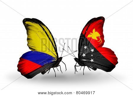 Two Butterflies With Flags On Wings As Symbol Of Relations Columbia And Papua New Guinea
