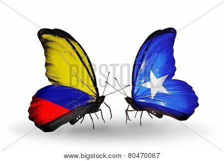 Two Butterflies With Flags On Wings As Symbol Of Relations Columbia And Somalia