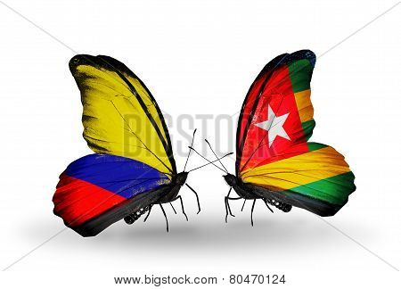 Two Butterflies With Flags On Wings As Symbol Of Relations Columbia And Togo