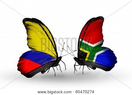 Two Butterflies With Flags On Wings As Symbol Of Relations Columbia And South Africa