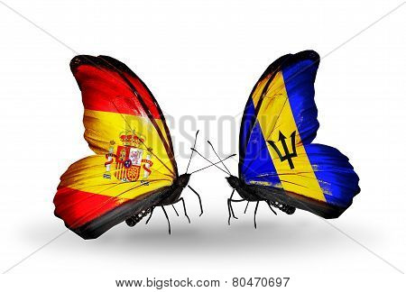 Two Butterflies With Flags On Wings As Symbol Of Relations Spain And Barbados