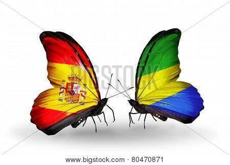 Two Butterflies With Flags On Wings As Symbol Of Relations Spain And Gabon