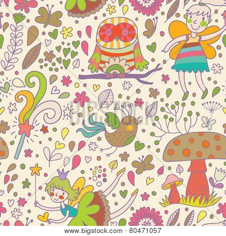Awesome childish seamless pattern with Fairies, mushrooms, birds and flowers. Spring floral vector background can be used for pattern fills, web page backgrounds, surface textures