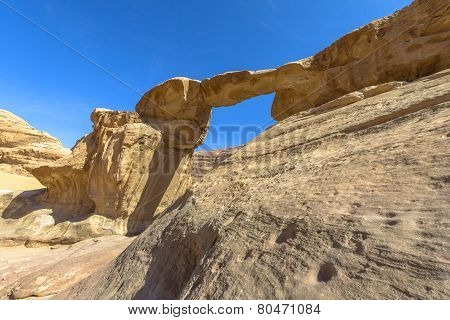Jabal Umm Fruth Bridge In Wadi Rum