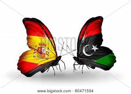 Two Butterflies With Flags On Wings As Symbol Of Relations Spain And Libya