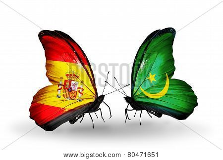 Two Butterflies With Flags On Wings As Symbol Of Relations Spain And Mauritania