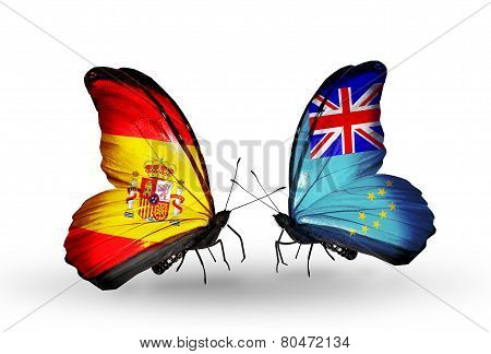 Two Butterflies With Flags On Wings As Symbol Of Relations Spain And Tuvalu