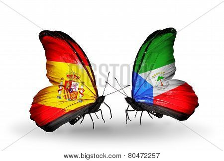 Two Butterflies With Flags On Wings As Symbol Of Relations Spain And Equatorial Guinea
