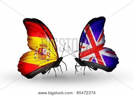 Two Butterflies With Flags On Wings As Symbol Of Relations Spain And Uk