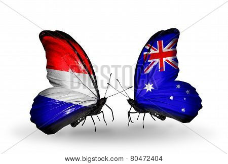 Two Butterflies With Flags On Wings As Symbol Of Relations Holland And Australia